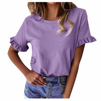 Tooth Women Casual T-Shirt Frill Ruffle Short Sleeve Blouse Round Neck Ladies 2020 Summer Fashion Loose Shirt Tops S-XXL (Purple M)