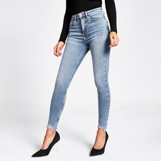 River Island Womens Mid Blue Hailey high rise jeans