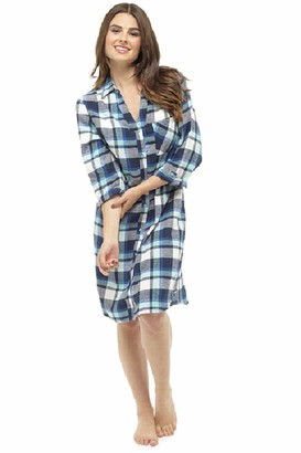 Follow That Dream Ladies Yarn Dyed Checked Traditional Style Nightshirt (Small - UK 8-10