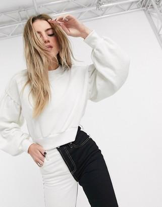 Bershka join life cropped sweat top in white