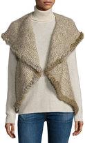 Neiman Marcus Rabbit Fur-Trimmed Knit Vest, Beige Multi