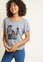 ModCloth Cat-ain Hook Graphic T-Shirt in M