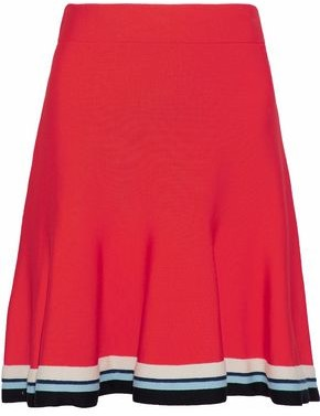 Victoria Victoria Beckham Fluted Striped Knitted Mini Skirt