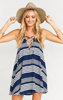 MUMU Rancho Mirage Lace Up Tunic Dress ~ Stripe Me Down