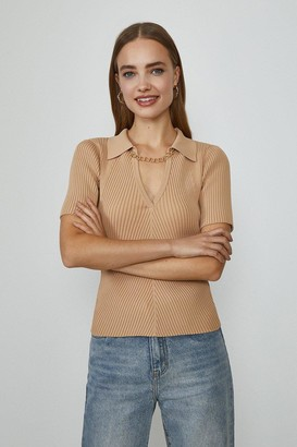 Coast Knitted Rib Chain Detail Collared Top