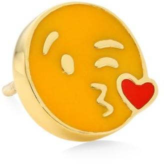 Judith Leiber 14K Goldplated Sterling Silver & Enamel Kiss Emoji Single Stud Earring