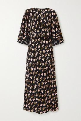 Les Rêveries Convertible Floral-print Silk Maxi Dress - Black