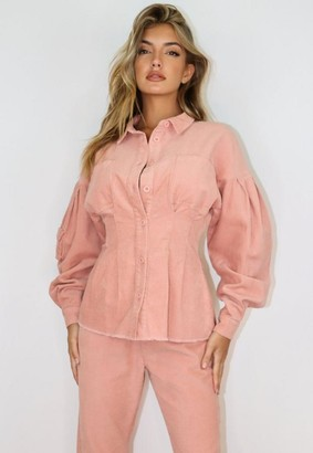 Missguided Co Ord Cord Cinched Waist Shirt