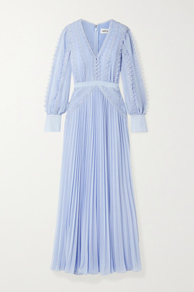 Self-Portrait Grosgrain And Corded Lace-trimmed Plisse-chiffon Gown - Sky blue