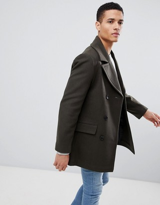 French Connection Wool Blend Double Breasted Pea Coat-Green