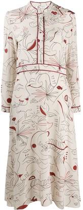 Ports 1961 Graphic-Print Silk Dress