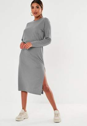 Missguided Dark Gray Basic Long Sleeve Midi T Shirt Dress