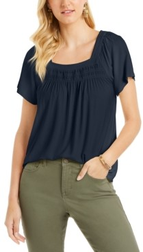 Style&Co. Style & Co Petite Square-Neck Smocked Top, Created for Macy's