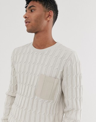 Asos Design DESIGN cable knit jumper with woven pocket in oatmeal-Beige