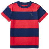 Ralph Lauren Striped Cotton Jersey Tee, Sunrise Red/Blue, Size 5-7