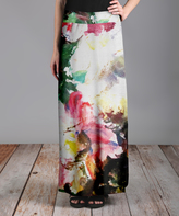 Lily Red & Green Painterly Maxi Skirt - Plus Too