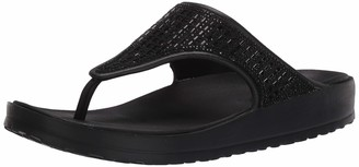 Skechers Cali Gear Women's Cali Breeze 2.0 Rhinestone Hooded Sandal w/Luxe Foam Double Strap Black/Black 6 M US