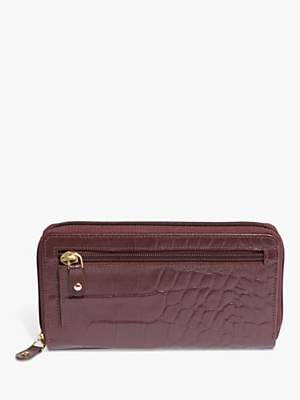 Phase Eight Charlotte Croc Effect Leather Purse, Port