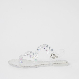 River Island Clear diamante jelly sandals
