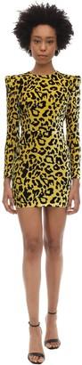 Alex Perry Jax Leopard Print Velvet Mini Dress
