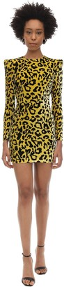 Alex Perry Jax Leopard Print Velvet Mini Dress