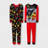 Lego The Batman Movie Boys' 4 Piece Cotton Pajama Set - Red