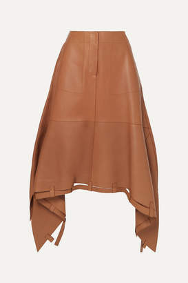 Loewe Asymmetric Leather Midi Skirt - Brown