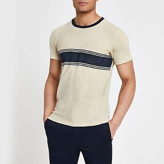 River Island Selected Homme beige chest pocket T-shirt
