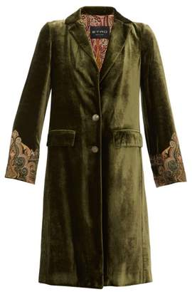 Etro Bristol Embroidered Cuff Velvet Coat - Womens - Green