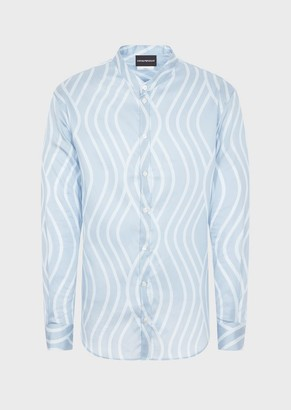 Emporio Armani Satin Shirt With Guru Collar And Wave Print