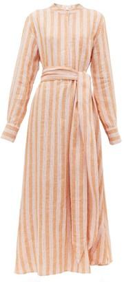Wiggy Kit - Como Striped-linen Shirtdress - Womens - Pink Stripe