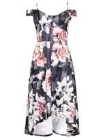 Quiz Grey and Pink Floral Print Dip Hem Dress