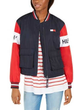 Tommy Hilfiger Colorblocked Zip-Front Cropped Jacket