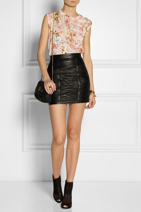 Balmain Ruched leather mini skirt