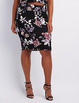 Charlotte Russe Plus Size Floral Print Pencil Skirt