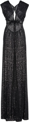 Naeem Khan Pleated Sequined Lame Gown