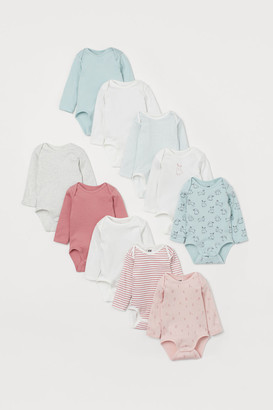 H&M 10-pack Long-sleeved Bodysuits - Pink