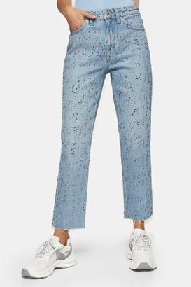 Topshop Womens Bleach Diamante Raw Hem Straight Leg Jeans - Bleach Stone