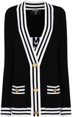 Balmain stripe-trim V-neck cardigan