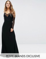 John Zack Petite Plunge Front Maxi Dress With Off Shoulder Sleeve Detail
