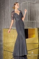 Alyce Paris - Shirred Queen Anne Sheer Long Evening Gown with Embroidered Elbow Length Sleeves 29629