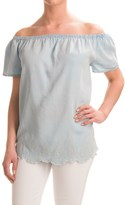 Chelsea & Theodore Off-the-Shoulder Chambray Embroidered Shirt - TENCEL®, Short Sleeve (For Women)