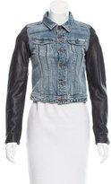 MAISON KITSUNÉ Leather-Trimmed Denim Jacket