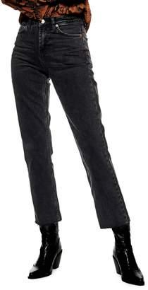 Topshop PETITE Raw Edge Straight Jeans 28-Inch Leg