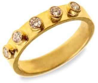 Elizabeth Locke Stone Hammered 19K Yellow Gold & Diamond Stack Ring