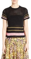 RED Valentino Women's Floral Print Back Crochet Sweater