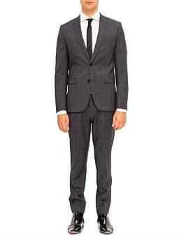 HUGO BOSS 2B Sv Windowpane Check 100% Wool Nested Suit