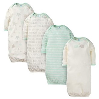 Gerber Baby Boy or Girl Gender Neutral Lap Should Gown With Mitten Cuffs Pajamas, 4-Pack