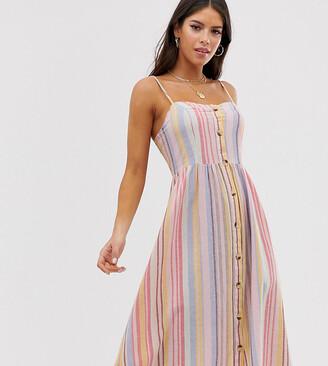 New Look Tall stripe linen midi dress in multi