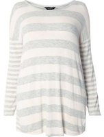 Dorothy Perkins Womens DP Curve Plus Size Grey Stripe Cutabout Top- Grey